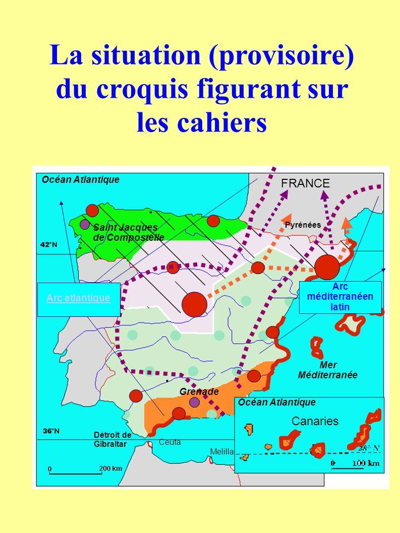 FRANCE Canaries Océan Atlantique Mer Méditerranée Océan Atlantique Détroit de Gibraltar Ceuta Melilla Pyrénées La situation (provisoire) du croquis fi