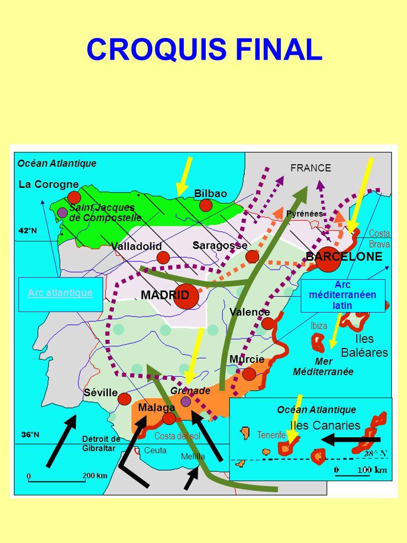 FRANCE Saint Jacques de Compostelle Océan Atlantique Mer Méditerranée Détroit de Gibraltar Ceuta CROQUIS FINAL Océan Atlantique Iles Canaries Grenade