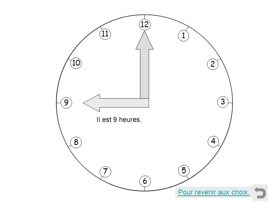 1 2 11 8 7 10 9 4 5 6 3 12 Il est 9 heures. Pour revenir aux choix.