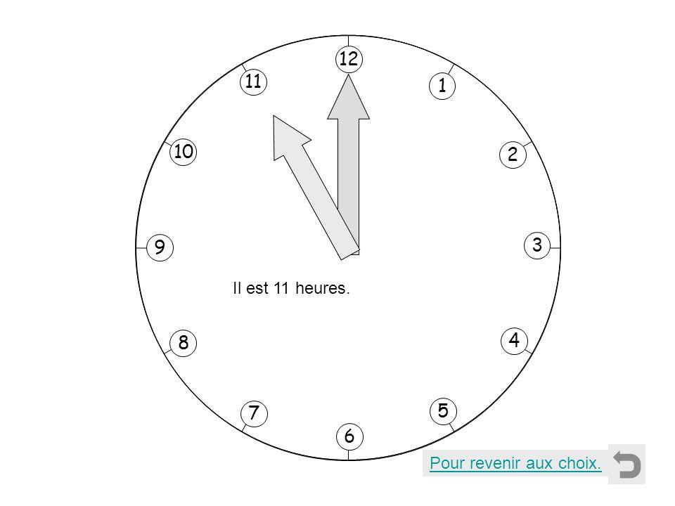 1 2 11 8 7 10 9 4 5 6 3 12 Il est 11 heures. Pour revenir aux choix.
