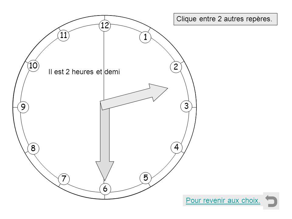 1 2 11 8 7 10 9 4 5 6 3 12 Clique entre 2 autres repères. Pour revenir aux choix. Il est 2 heures et demi