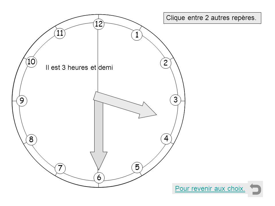 1 2 11 8 7 10 9 4 5 6 3 12 Clique entre 2 autres repères. Pour revenir aux choix. Il est 3 heures et demi