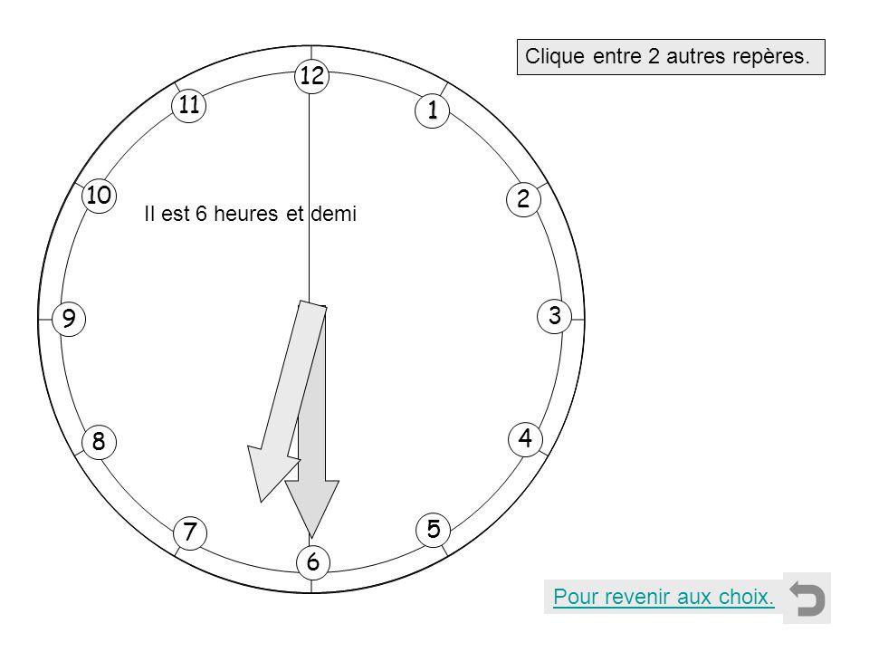1 2 11 8 7 10 9 4 5 6 3 12 Clique entre 2 autres repères. Pour revenir aux choix. Il est 6 heures et demi