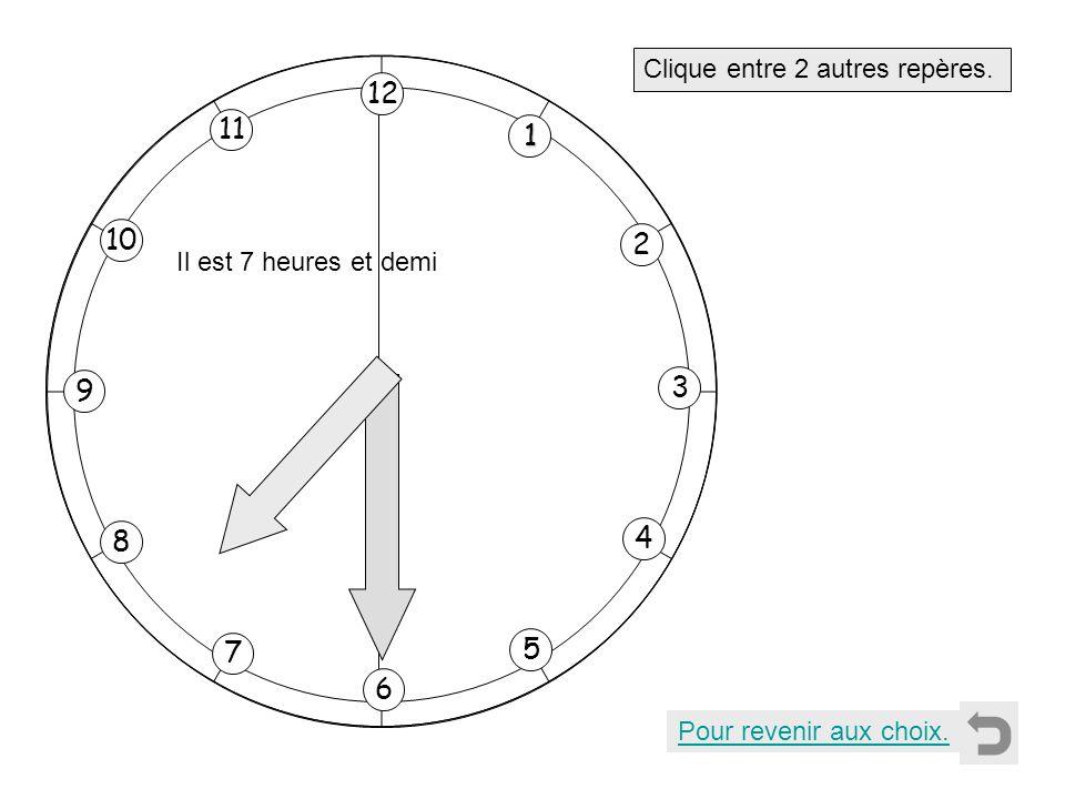 1 2 11 8 7 10 9 4 5 6 3 12 Clique entre 2 autres repères. Pour revenir aux choix. Il est 7 heures et demi