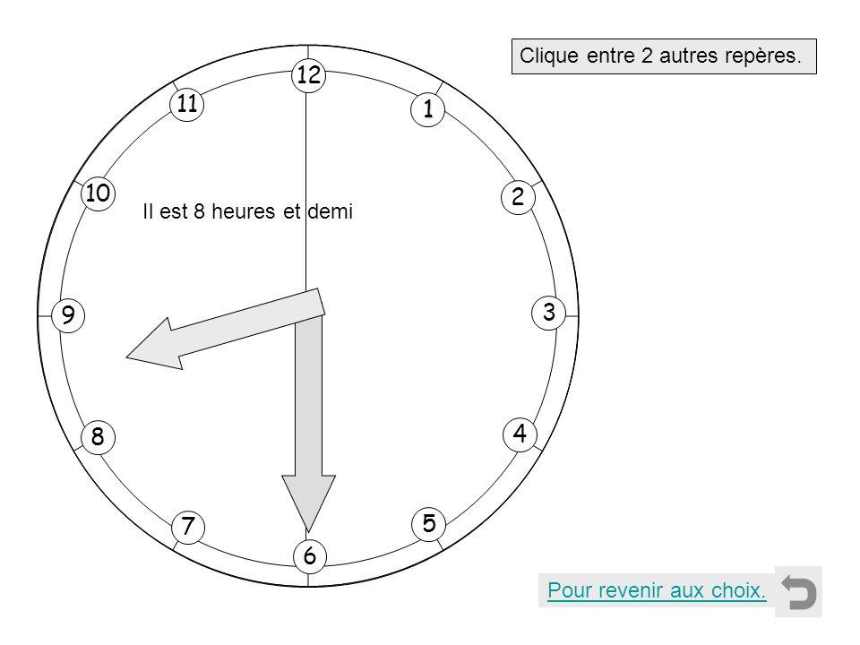 1 2 11 8 7 10 9 4 5 6 3 12 Clique entre 2 autres repères. Pour revenir aux choix. Il est 8 heures et demi