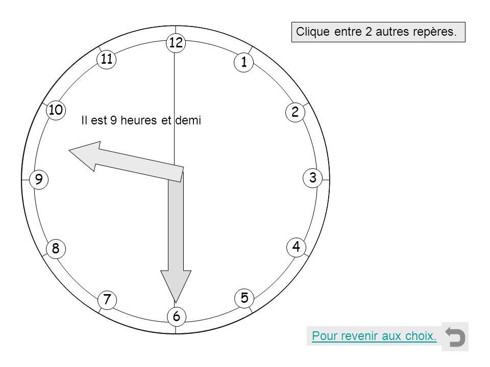 1 2 11 8 7 10 9 4 5 6 3 12 Clique entre 2 autres repères. Pour revenir aux choix. Il est 9 heures et demi