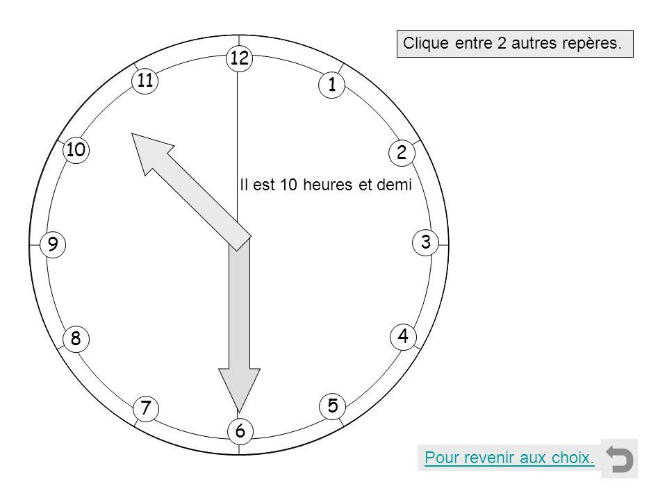 1 2 11 8 7 10 9 4 5 6 3 12 Clique entre 2 autres repères. Pour revenir aux choix. Il est 10 heures et demi