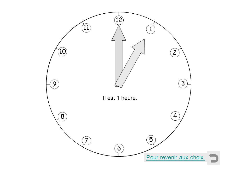 1 2 11 8 7 10 9 4 5 6 3 12 Il est 12 heures. Pour revenir aux choix. Il est midi.Il est minuit.