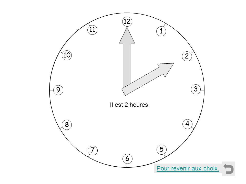 1 2 11 8 7 10 9 4 5 6 3 12 Il est 3 heures. Pour revenir aux choix.