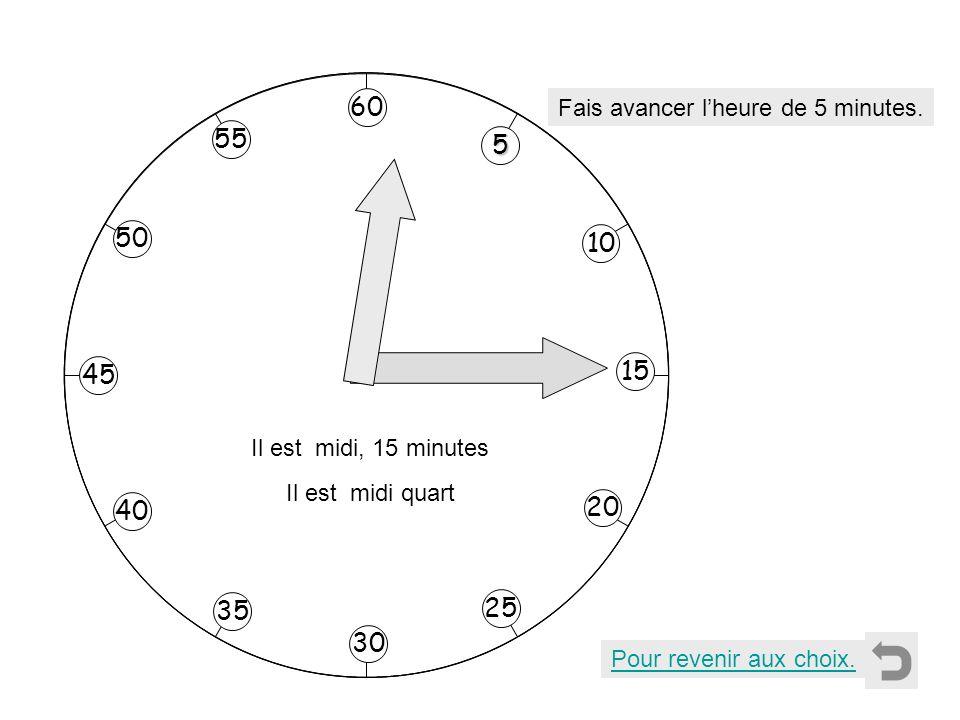 Pour revenir aux choix. Fais avancer lheure de 5 minutes. 5555 10 55 40 35 50 45 20 25 30 15 60 Il est midi, 15 minutes Il est midi quart