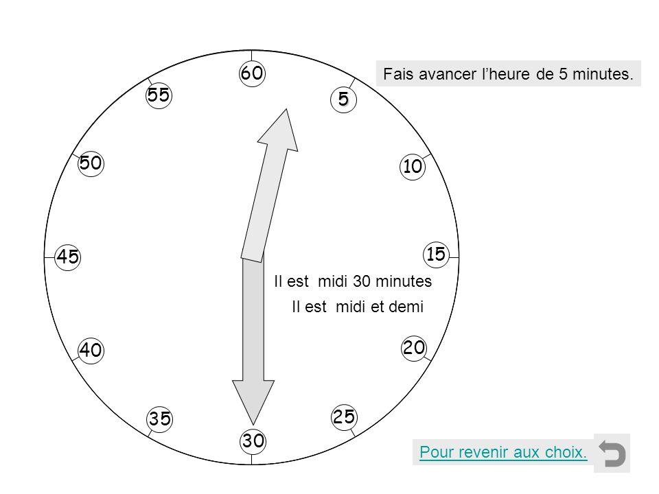 Pour revenir aux choix. Fais avancer lheure de 5 minutes. 5555 10 55 40 35 50 45 20 25 30 15 60 Il est midi 30 minutes Il est midi et demi