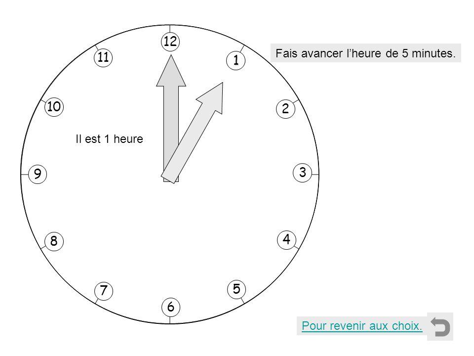 Pour revenir aux choix. 1111 2 11 8 7 10 9 4 5 6 3 12 Fais avancer lheure de 5 minutes. Il est 1 heure