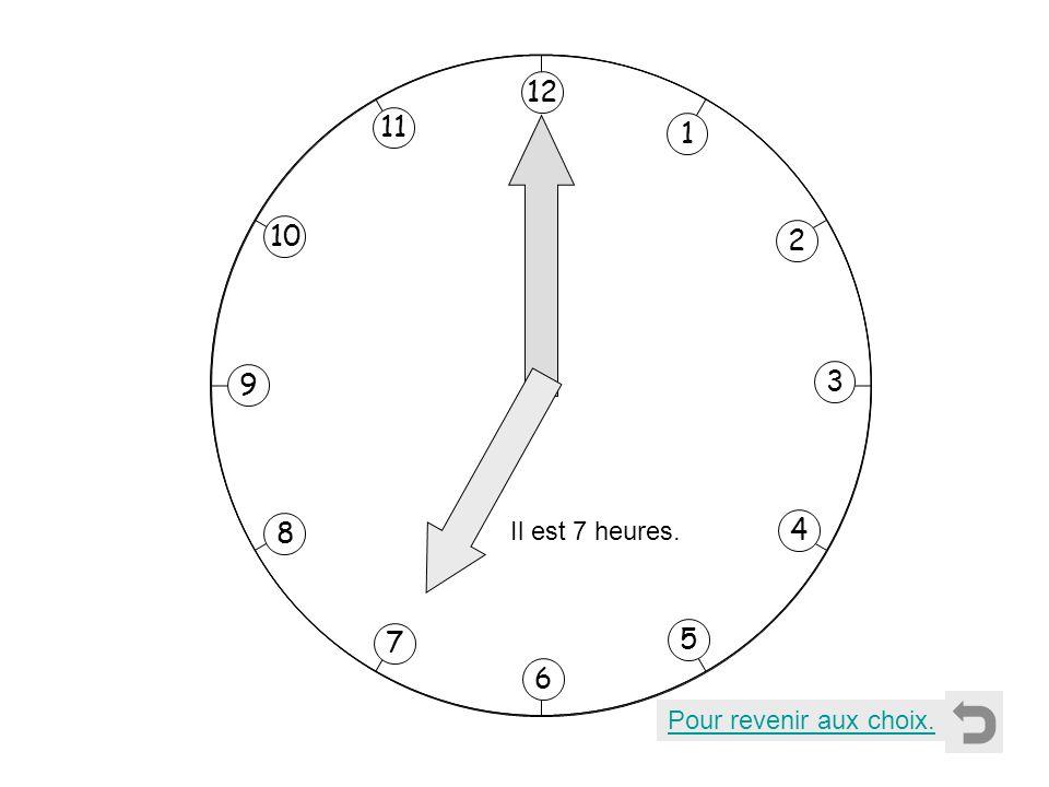 1 2 11 8 7 10 9 4 5 6 3 12 Il est 7 heures. Pour revenir aux choix.