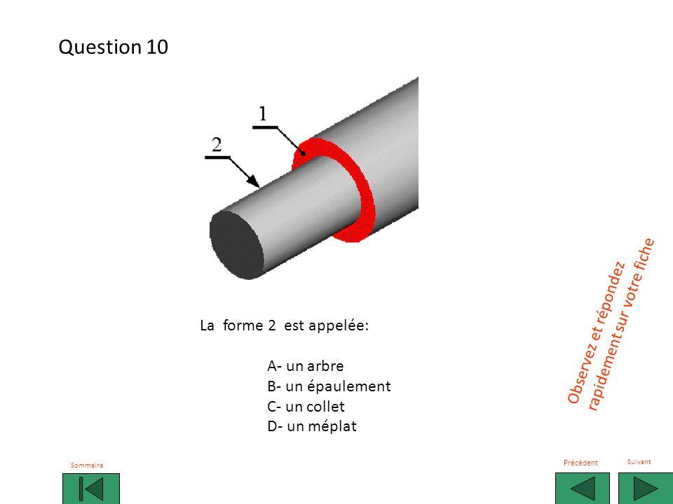 La forme 2 est appelée: A- un arbre B- un épaulement C- un collet D- un méplat Observez et répondez rapidement sur votre fiche Sommaire Précèdent Suivant Question 10