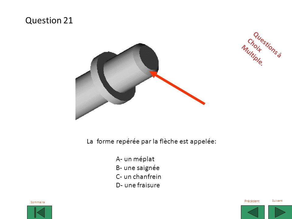 La forme repérée par la flèche est appelée: A- un méplat B- une saignée C- un chanfrein D- une fraisure Questions àChoixMultiple.