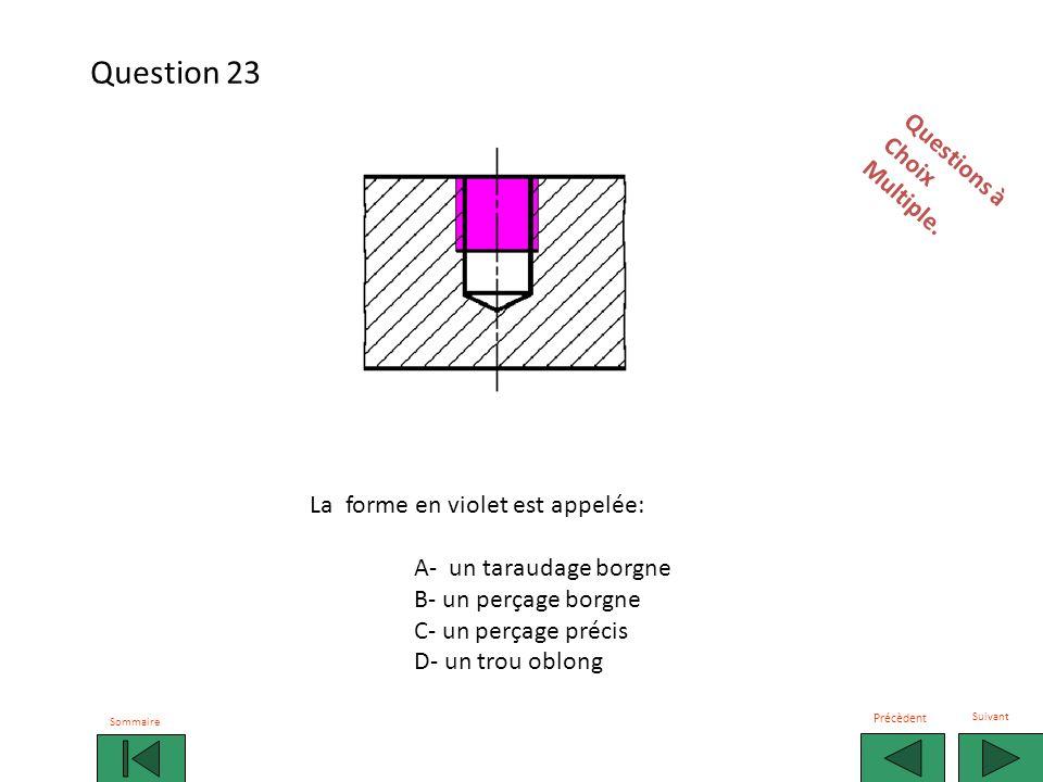La forme en violet est appelée: A- un taraudage borgne B- un perçage borgne C- un perçage précis D- un trou oblong Questions àChoixMultiple.