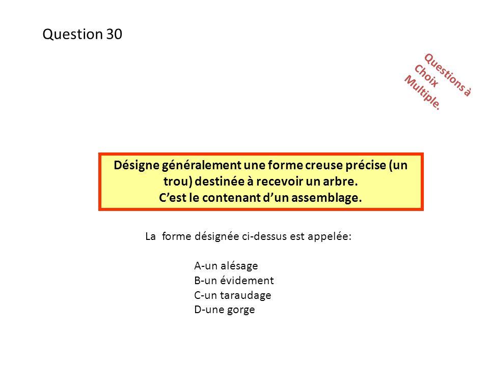 La forme désignée ci-dessus est appelée: A-un alésage B-un évidement C-un taraudage D-une gorge Questions àChoixMultiple.