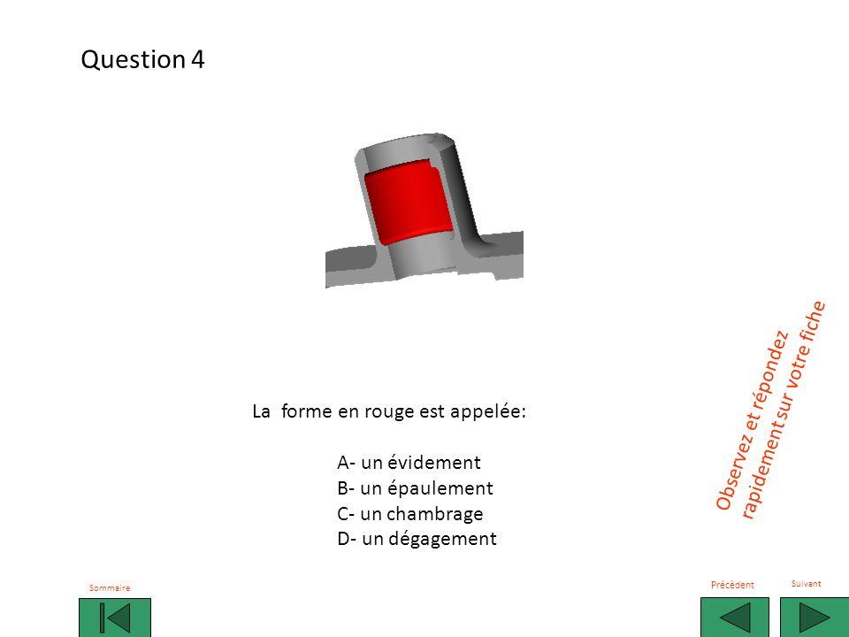 La forme en rouge est appelée: A- un évidement B- un perçage non débouchant C- un chambrage D- un perçage borgne Questions àChoixMultiple.