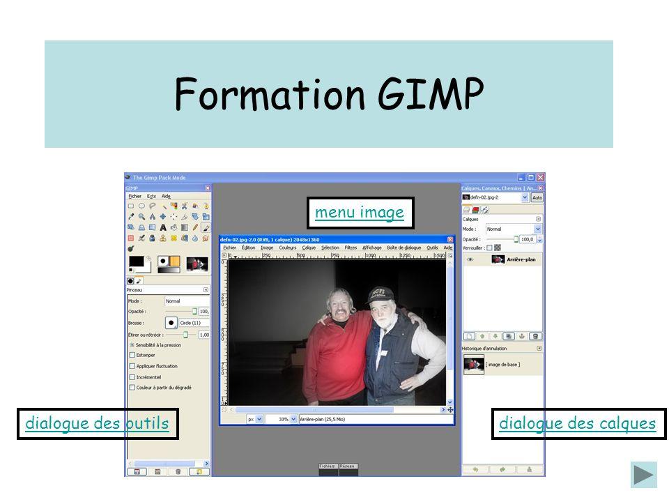 Formation GIMP dialogue des outilsdialogue des calques menu image