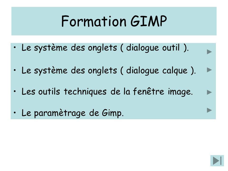 Formation GIMP Le système des onglets ( dialogue outil ).