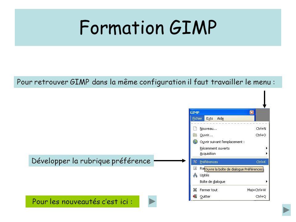 Formation GIMP Pour retrouver GIMP dans la même configuration il faut travailler le menu : Développer la rubrique préférence Pour les nouveautés cest ici :