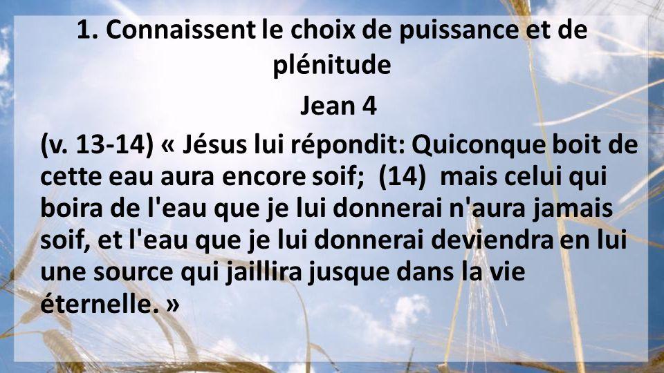 1. Connaissent le choix de puissance et de plénitude Jean 4 (v. 13-14) « Jésus lui répondit: Quiconque boit de cette eau aura encore soif; (14) mais c