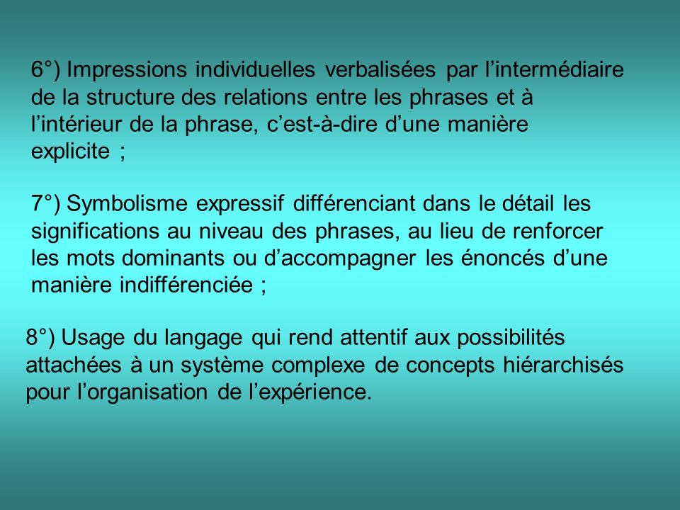 6°) Impressions individuelles verbalisées par lintermédiaire de la structure des relations entre les phrases et à lintérieur de la phrase, cest-à-dire