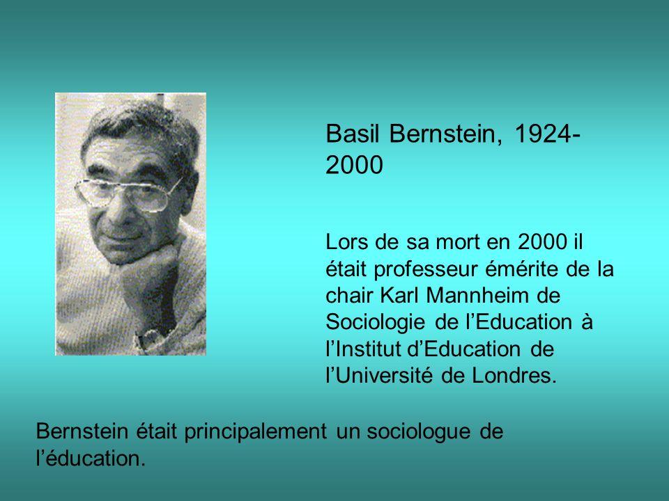 Basil Bernstein, 1924- 2000 Lors de sa mort en 2000 il était professeur émérite de la chair Karl Mannheim de Sociologie de lEducation à lInstitut dEdu