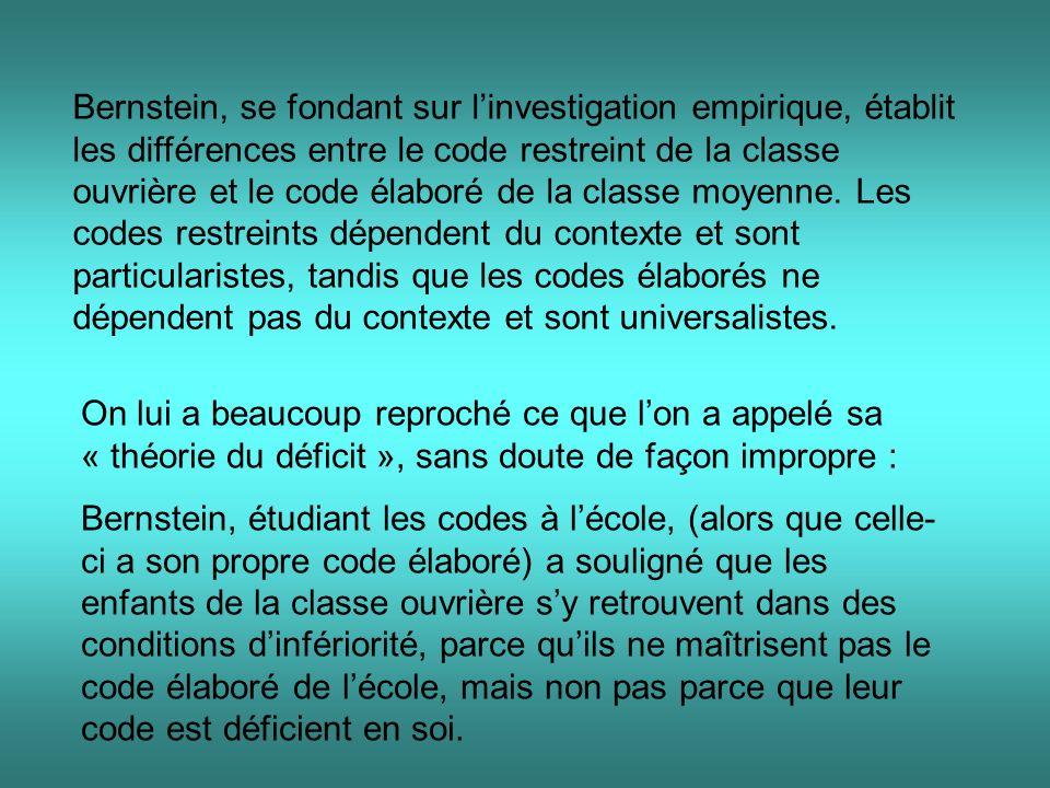 Bernstein, se fondant sur linvestigation empirique, établit les différences entre le code restreint de la classe ouvrière et le code élaboré de la cla