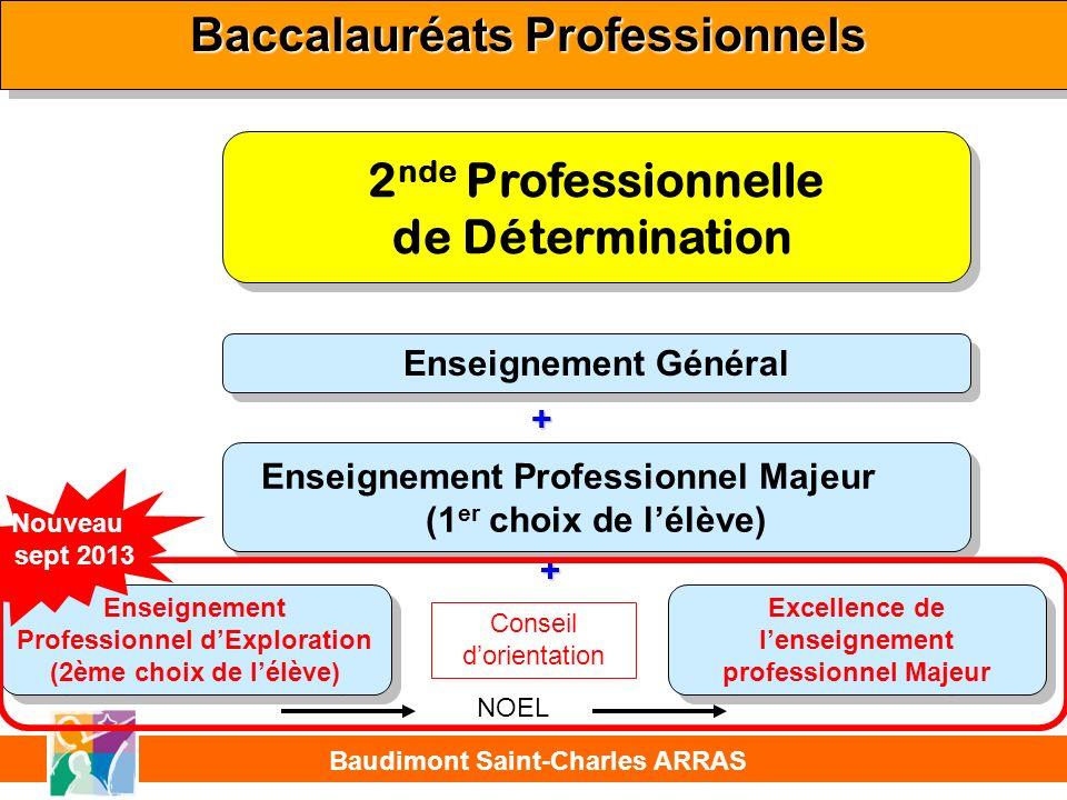 2 nde de Détermination Professionnelle Baccalauréats Professionnels + + Baudimont Saint-Charles ARRAS Enseignement Général Enseignement Professionnel Majeur (1 er choix de lélève) Enseignement Professionnel Majeur (1 er choix de lélève) Enseignement Professionnel dExploration (2ème choix de lélève) Enseignement Professionnel dExploration (2ème choix de lélève) + + Français, Anglais, EPS, Maths, Histoire-Géographie, Economie, Arts appliqués, Phy-Chimie ou LV2.
