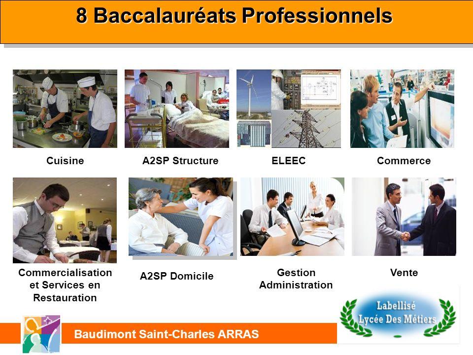 8 Baccalauréats Professionnels Electrotechnique Energies Equipements communicants Cuisine Commercialisation et Services en Restauration A2SP StructureELEECCommerce Cuisine Gestion Administration Vente A2SP Domicile Saint-Charles ARRAS Baudimont Saint-Charles ARRAS