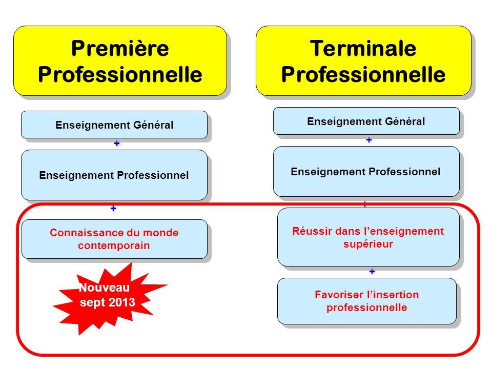 + + Enseignement Général Enseignement Professionnel Connaissance du monde contemporain Terminale Professionnelle Favoriser linsertion professionnelle