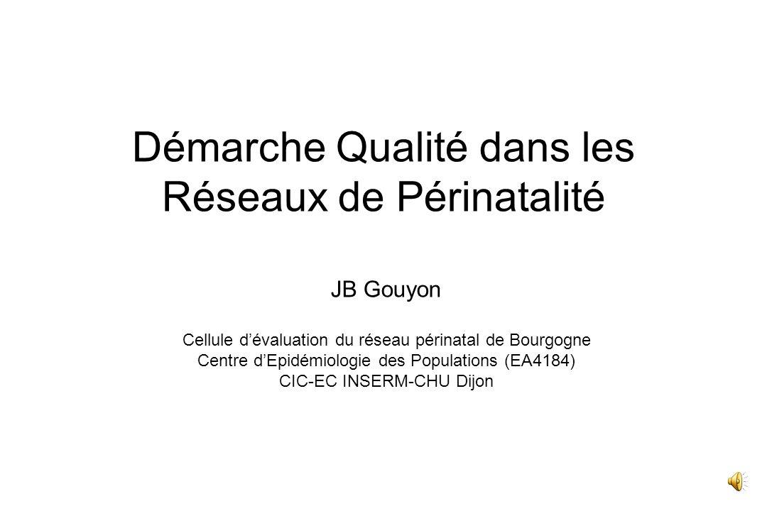 Démarche Qualité dans les Réseaux de Périnatalité JB Gouyon Cellule dévaluation du réseau périnatal de Bourgogne Centre dEpidémiologie des Populations (EA4184) CIC-EC INSERM-CHU Dijon