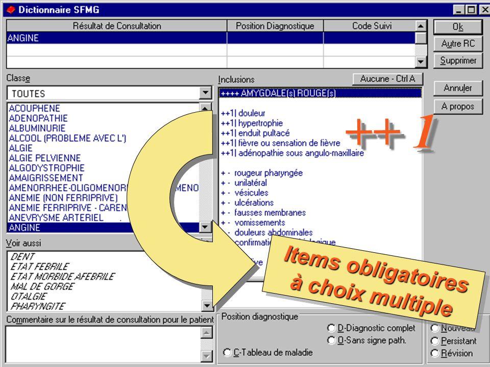 le Dictionnaire des Résultats de Consultation – SFMG – 200310 Items obligatoires à choix multiple ++ 1