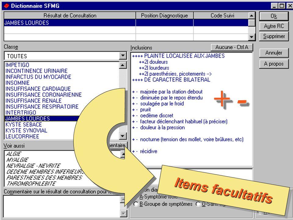 le Dictionnaire des Résultats de Consultation – SFMG – 200313 Items facultatifs + -