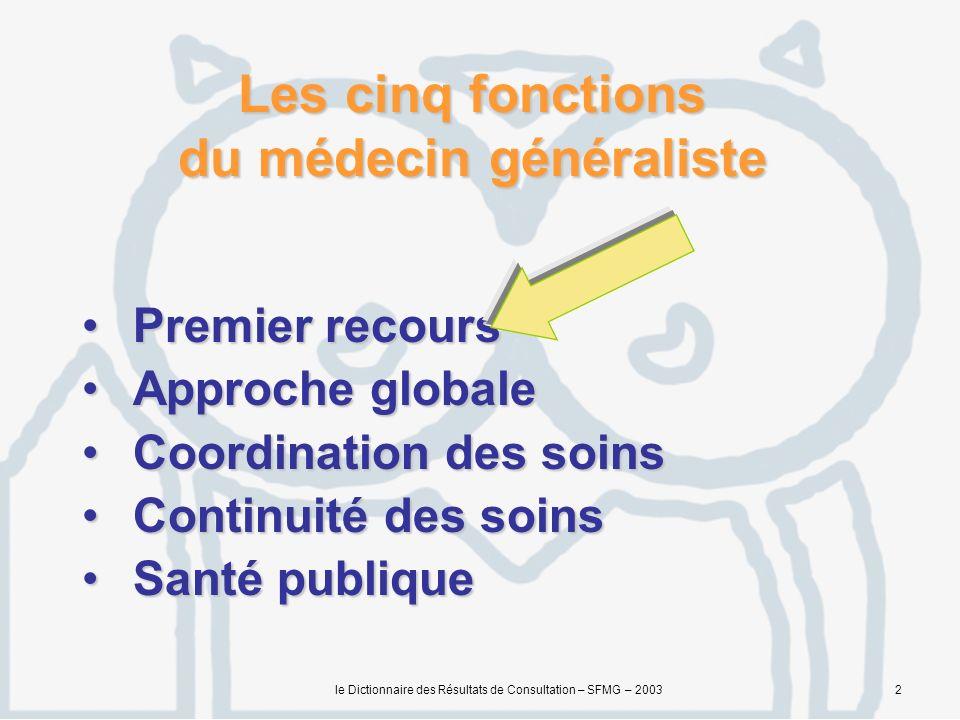 le Dictionnaire des Résultats de Consultation – SFMG – 20033 La médecine générale se situe à l émergence des pathologies c est à dire, souvent, en face de situations non-caractéristiques