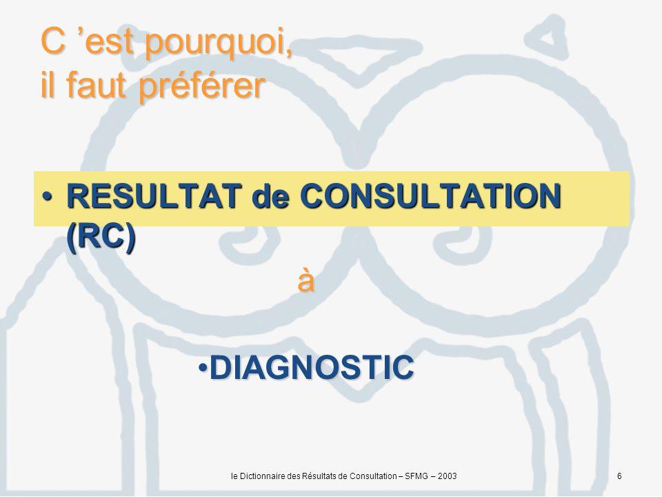 le Dictionnaire des Résultats de Consultation – SFMG – 20036 C est pourquoi, il faut préférer RESULTAT de CONSULTATION (RC)RESULTAT de CONSULTATION (RC) à DIAGNOSTICDIAGNOSTIC