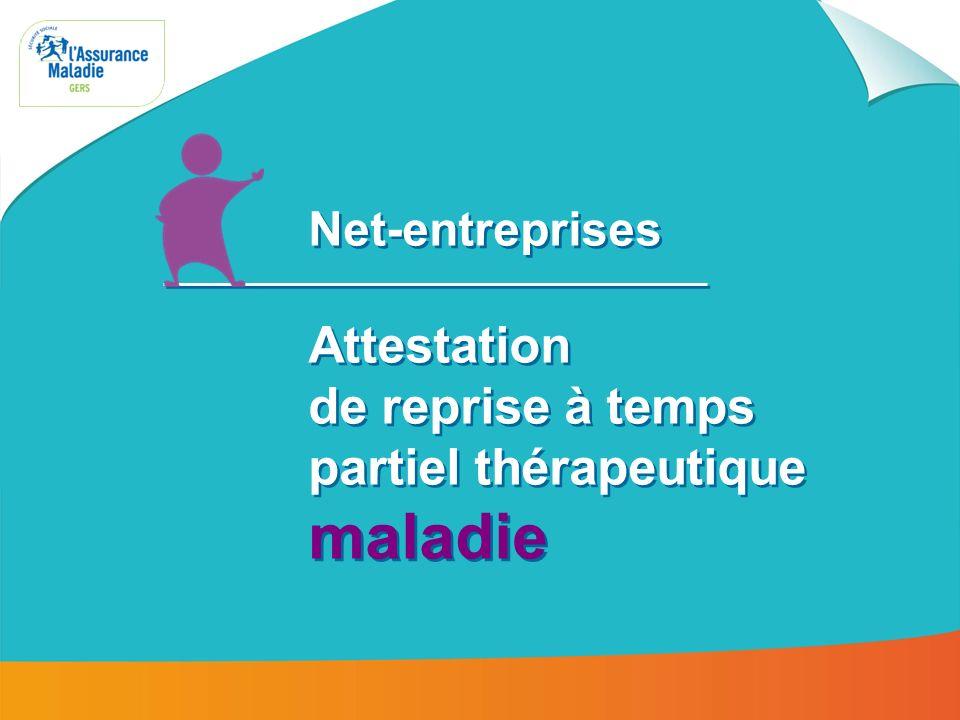 Net-entreprises : attestation de reprise à temps partiel thérapeutique maladie 2 Une fois inscrit au portail Net Entreprises, connectez- vous à votre espace personnalisé Accès au portail