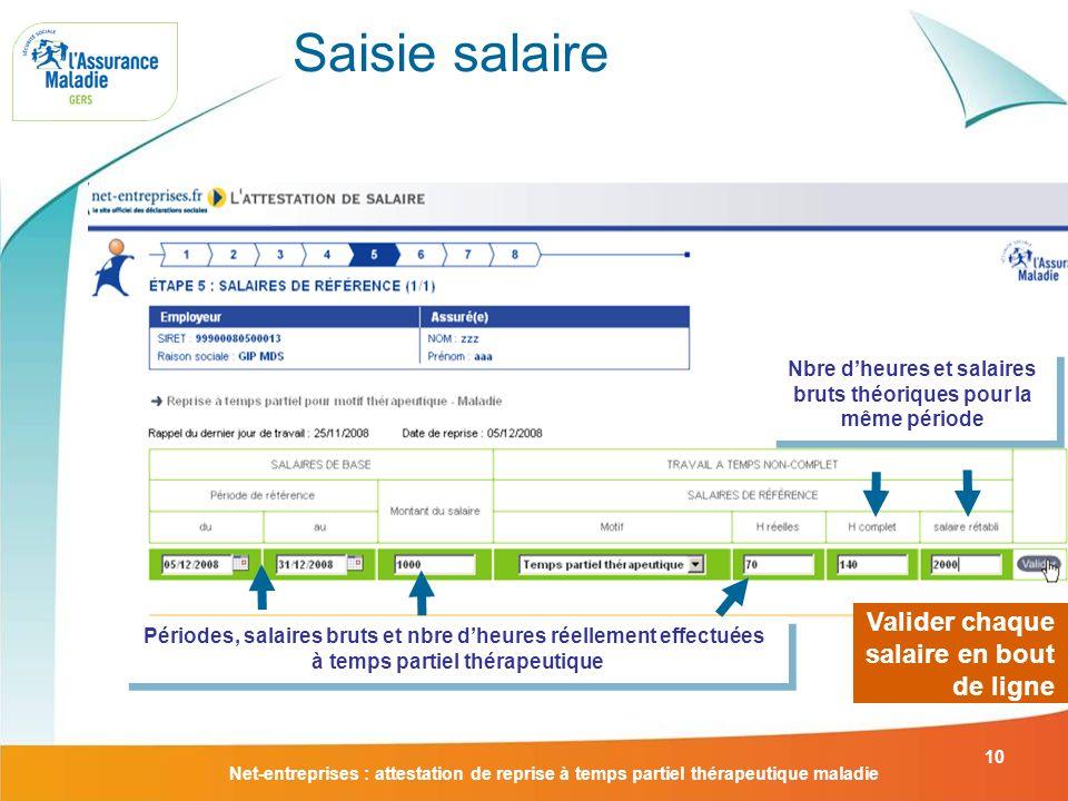 Net-entreprises : attestation de reprise à temps partiel thérapeutique maladie 10 Saisie salaire Valider chaque salaire en bout de ligne Nbre dheures