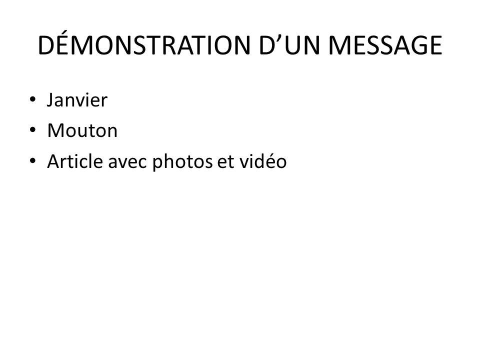 DÉMONSTRATION DUN MESSAGE Janvier Mouton Article avec photos et vidéo