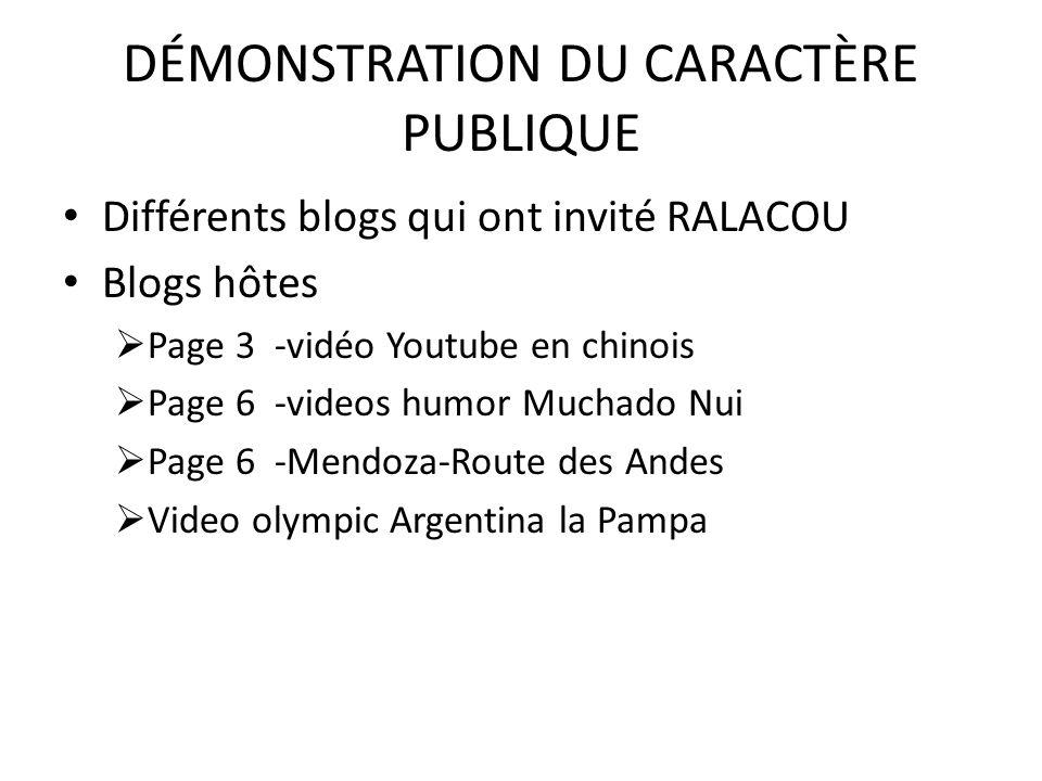 DÉMONSTRATION DU CARACTÈRE PUBLIQUE Différents blogs qui ont invité RALACOU Blogs hôtes Page 3 -vidéo Youtube en chinois Page 6 -videos humor Muchado