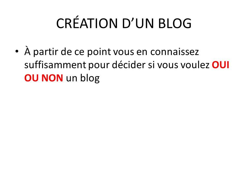 CRÉATION DUN BLOG À partir de ce point vous en connaissez suffisamment pour décider si vous voulez OUI OU NON un blog