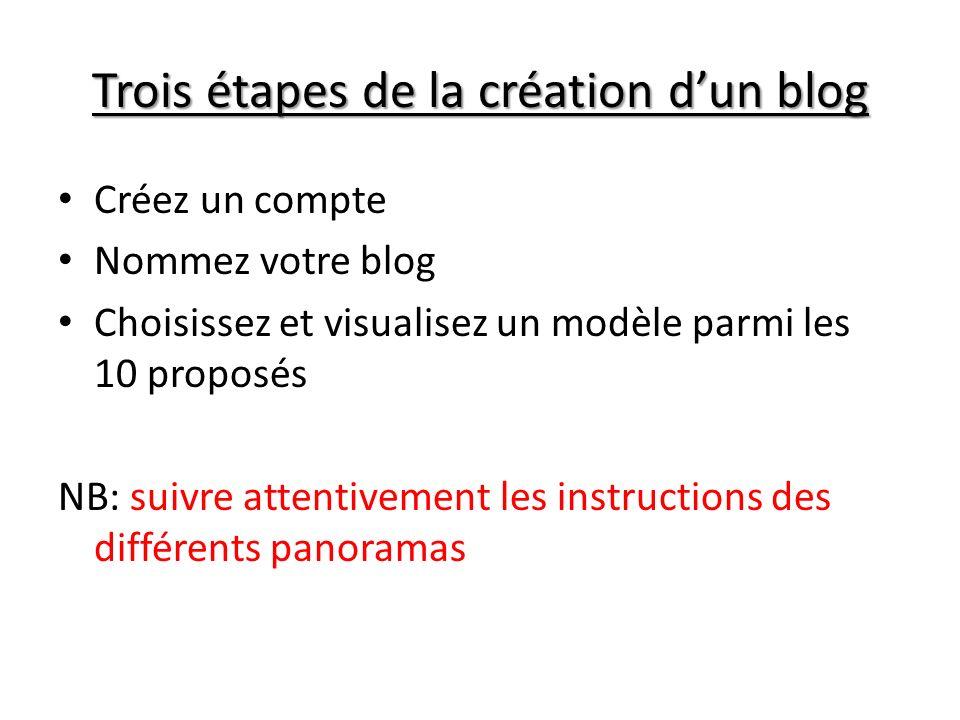 Trois étapes de la création dun blog Créez un compte Nommez votre blog Choisissez et visualisez un modèle parmi les 10 proposés NB: suivre attentiveme