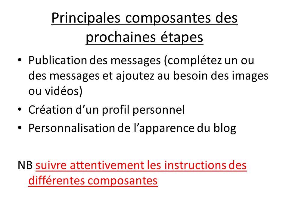 Principales composantes des prochaines étapes Publication des messages (complétez un ou des messages et ajoutez au besoin des images ou vidéos) Créati