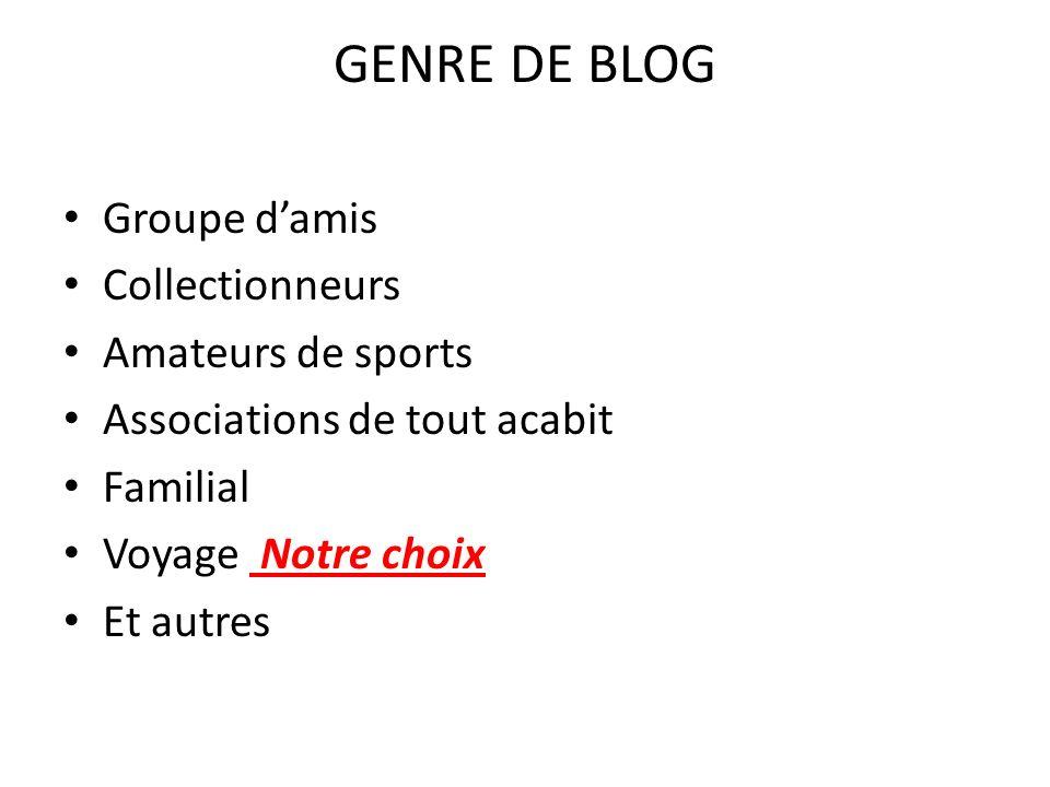 GENRE DE BLOG Groupe damis Collectionneurs Amateurs de sports Associations de tout acabit Familial Voyage Notre choix Et autres