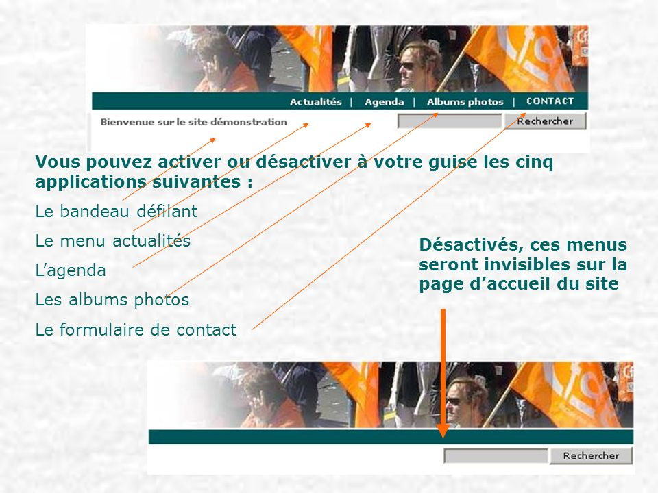 Menu « ACTUALITES » Pour créer une actualité et la mettre en ligne, cliquez sur le bouton [actualités] Activez le menu « actualités » Puis cliquez sur le lien « ajouter une actualité »