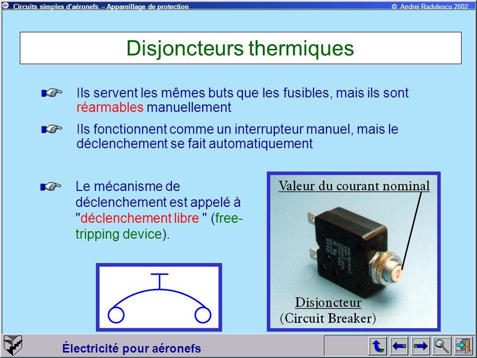 Circuits simples daéronefs – Appareillage de protection Électricité pour aéronefs © Andrei Radulescu 2002 Disjoncteurs thermiques Ils servent les même