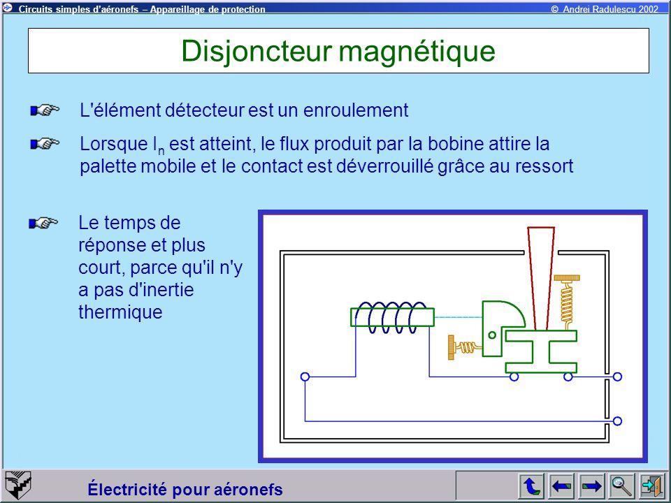 Circuits simples daéronefs – Appareillage de protection Électricité pour aéronefs © Andrei Radulescu 2002 Disjoncteur magnéto - thermique L élément détecteur est double - bobine et bilame Le premier à actionner le mécanisme de verrouillage est la bobine 1 Si le courant n est pas suffisant c est la déformation du bilame qui excite la deuxième bobine Les deux flux s additionnent et le déclenchement est provoqué