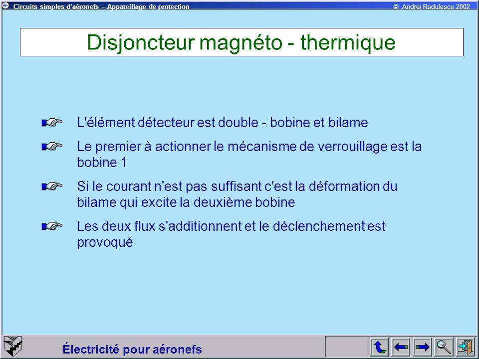 Circuits simples daéronefs – Appareillage de protection Électricité pour aéronefs © Andrei Radulescu 2002 Disjoncteur magnéto - thermique L'élément dé