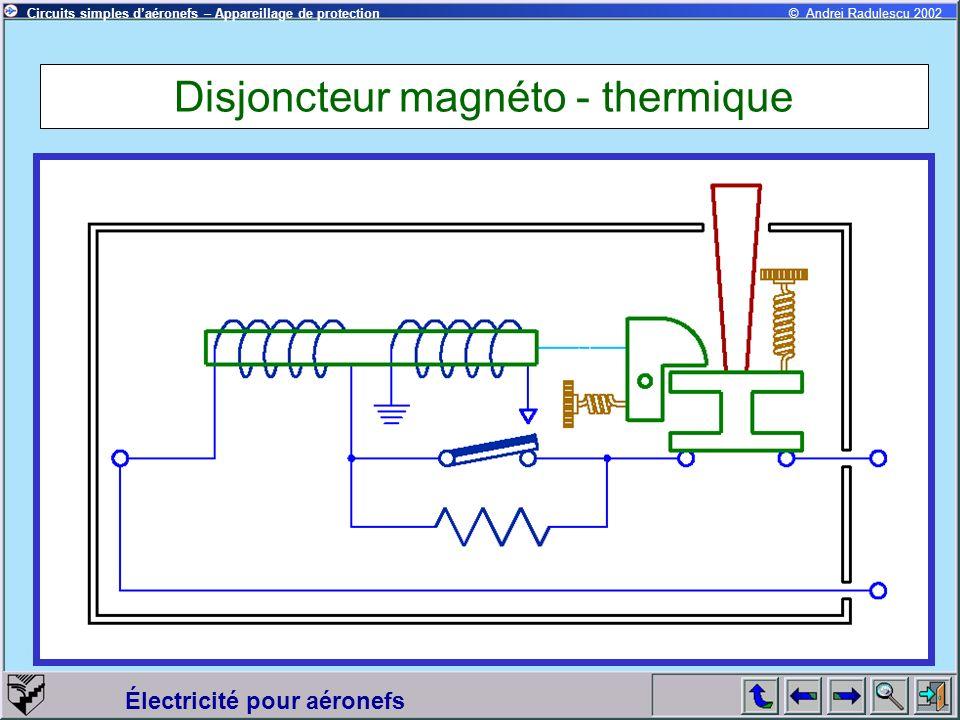 Circuits simples daéronefs – Appareillage de protection Électricité pour aéronefs © Andrei Radulescu 2002 Disjoncteur magnéto - thermique